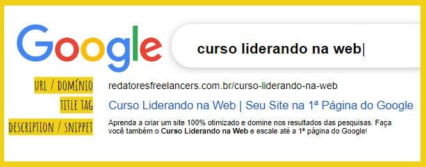 exemplo de resultado no Google
