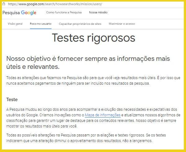 pesquisa google foco no usuario